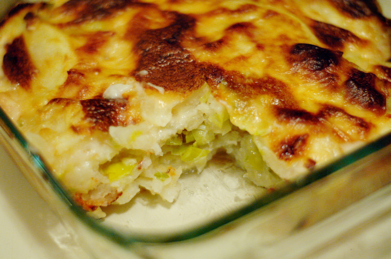 Potatoes Au Gratin with Leeks, Bacon, and Brie | Heather's Dish